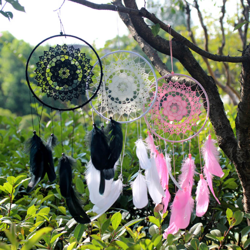 1 Pcs Dream Catcher Net Decor Ornament Wall Hanging Home Crafts Handmade Wedding Festival Gift White Feathers Material