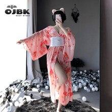OJBK – Kimono rose japonais Kawaii, avec nœud papillon blanc, ceinture et string, Costumes de Cosplay Sexy de demoiselle d'honneur pour femmes, tenue AV, nouvelle collection 2020