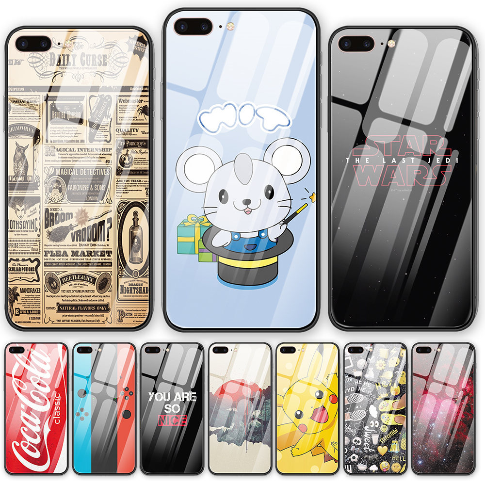 Retro Wallpaper Tempered Glass back cover phone case Cute Anime For iphone 5 5S SE 6
