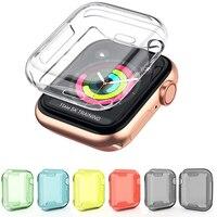Funda de TPU para Apple Watch serie 4, funda protectora transparente y suave, accesorios para reloj de parachoques, 44mm/40mm, 360
