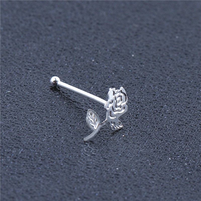 20 Pieces Rose Flower Shape Nose Studs Ball Pin End for Women Girl Nose Rings Piercing Puncture Body Jewelry Universal-5