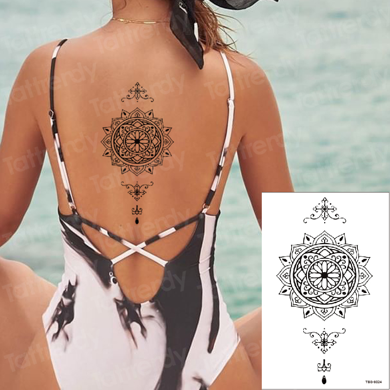 Temporary Tattoo Sticker Lotus Dreamcatcher Fake Tatto Henna Tatoo Waterproof  Back Leg Abdomen Arm Tatouage Women Men Beach New