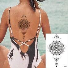 Временная татуировка, наклейка Лотос Ловец снов, поддельные татуировки, хна, водостойкие, на заднюю ногу, Абдо, для мужчин, на руку, тату, для ...