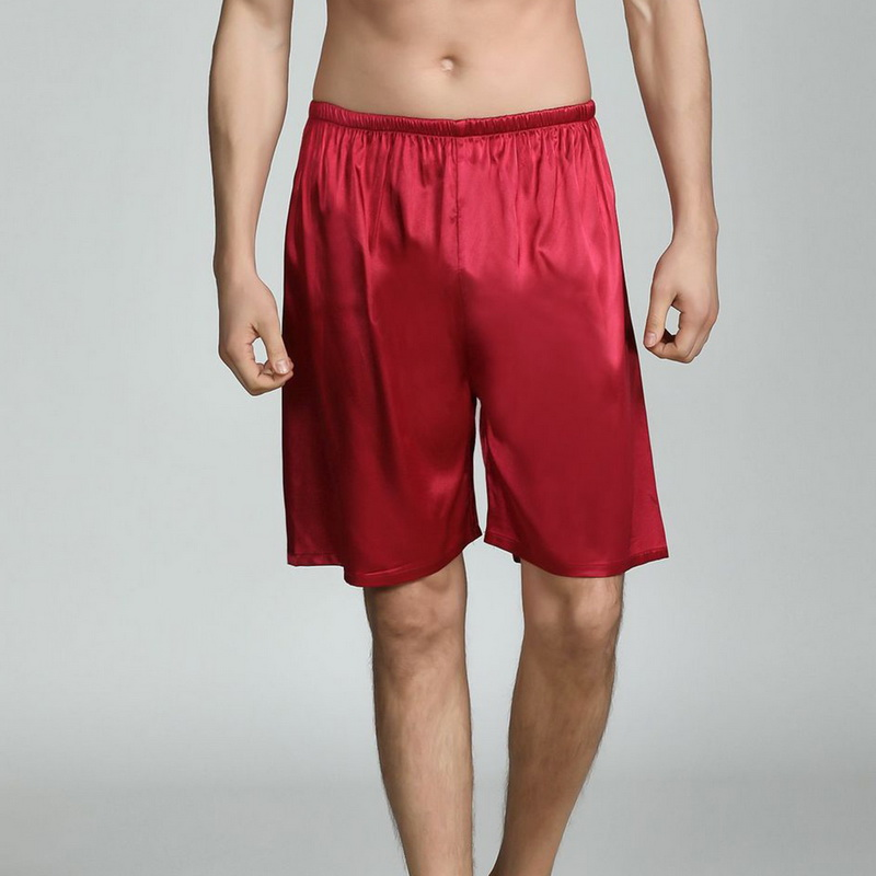 2019 Plus Size Summer Men Sleepwear Solid Color Silky Satin Pajama Shorts Homewear Men Sleeping Shorts Sexy Nightwear Underpants