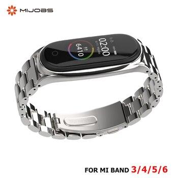 Strap For Xiaomi Mi Band 5 4 3 6 Stainless Metal Opaska  Correa Mi Bend 4 Miband 5 Wristbands Bracelet  Global Version NFC 1