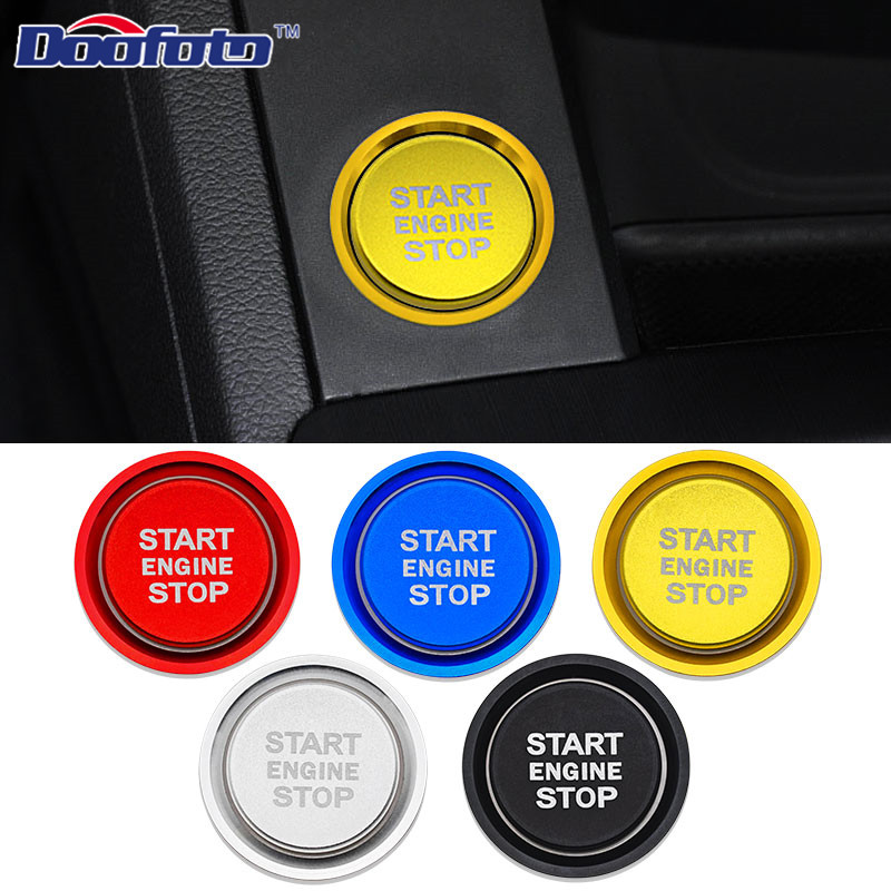 Doofoto Car Start Stop Engine Button Cover Ring For Audi Q5 8R A4 B9 A7 C7 B9 Q3 Q7 BT 2019 Accessories Styling Protective Shell image