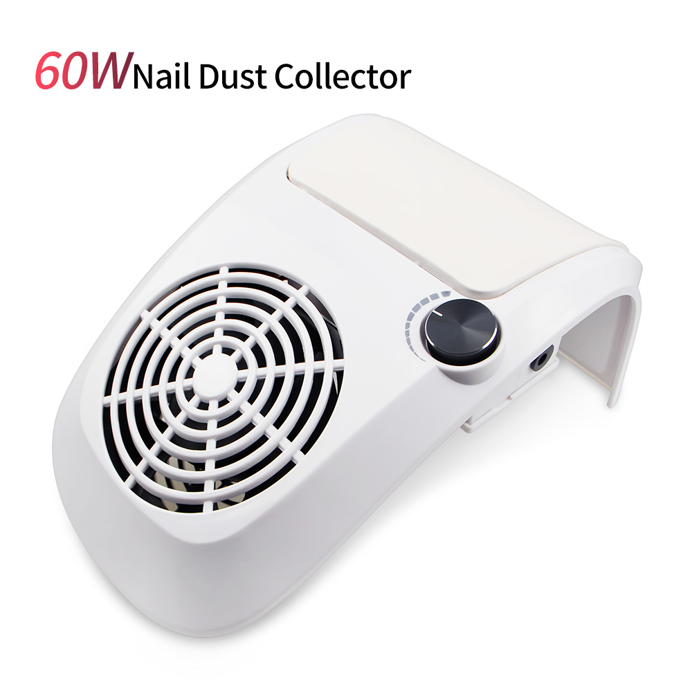 60W Powerful Nail Dust Suction Collector Vacuum Cleaner Professional Manicure Machine With 2 Dust Bag Nail Art Salon Equipment