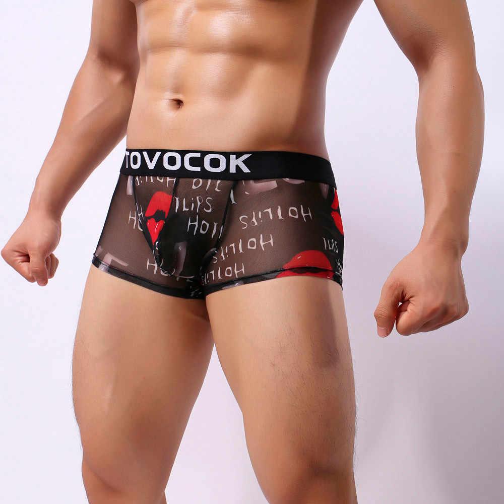 Męskie bokserki Sexy lips drukowane bielizna przejrzyste przepuszczalność szorty męskie majtki penis gay kalesony miękkie cueca prezent dla mężczyzn