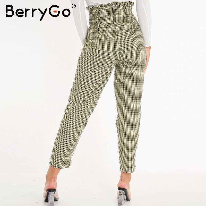 BerryGO Plaid spodnie robocze damskie wzburzyć wysokiej talii zamek harem spodnie capris kobiece rocznika przycisk panie jesienne spodnie 2019