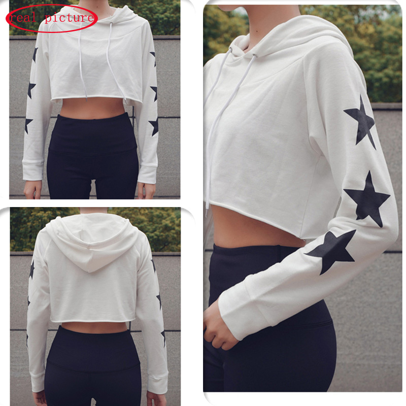Germinate Star Cropped Hoodie Women Autumn Harajuku Blackpink Ariana Grande Bangtan Kpop Monsta X Gym Sexy White Crop Hoody in Hoodies amp Sweatshirts from Women 39 s Clothing