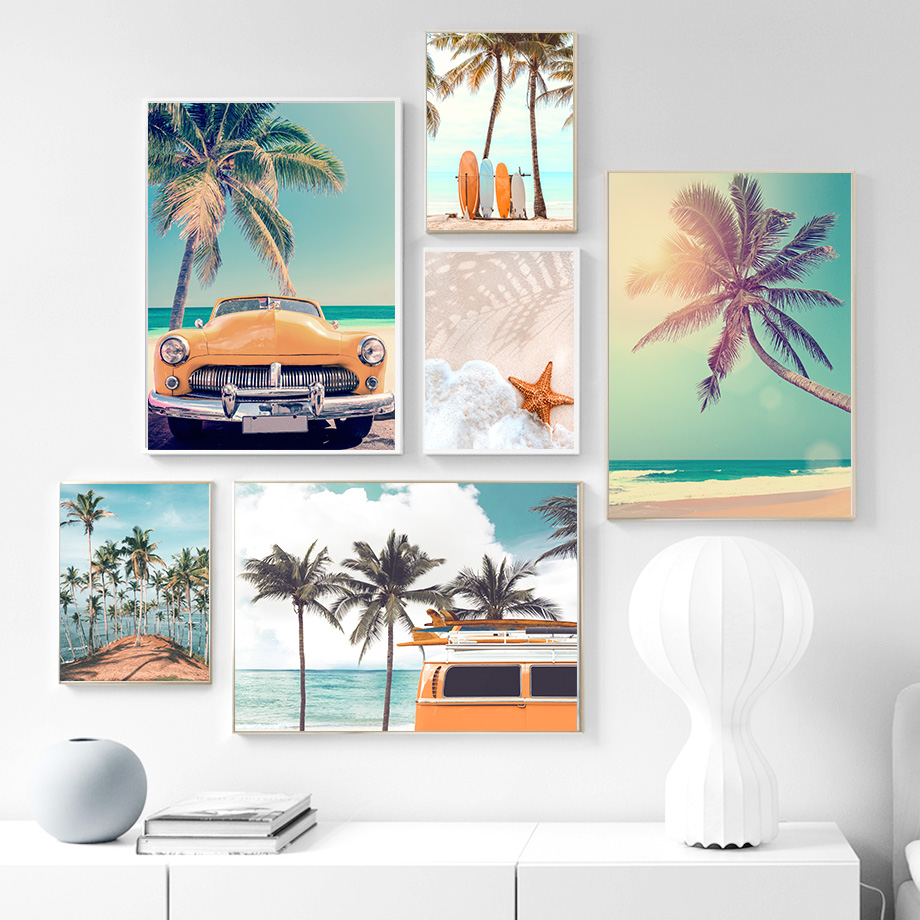 Sea Beach Coconut Tree Starfish Surfboard Wall Art Canvas Painting Nordic Posters And Prints Wall Pictures For Living Room Decor|Painting & Calligraphy| - AliExpress