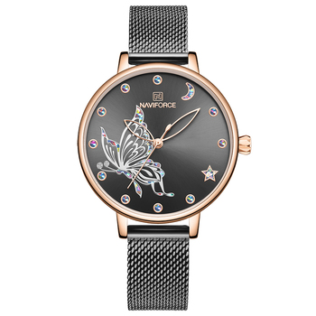 NAVIFORCE Luxury Crystal Watch Women Top Brand Rose Gold Steel Mesh Ladies Wrist Watches Bracelet Girl Clock Relogio Feminino 7