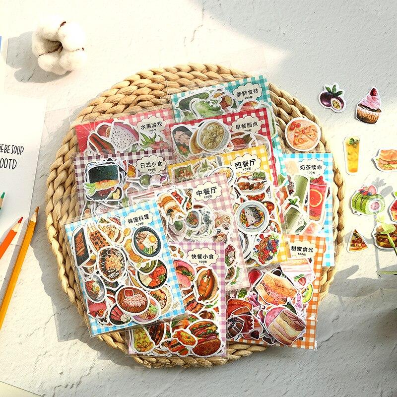 100pcs/1lot Kawaii Stationery Stickers Cartoon Animal Food Diary Decorative Mobile Stickers Scrapbooking DIY Craft Stickers
