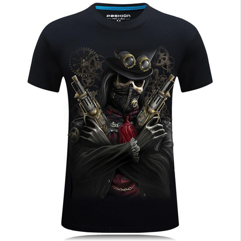 Nice Summer Style 3D T shirts Men Skull Printed Hip Hop Boys Tops Casual Short Sleeve O Neck T Shirt Tees Male Camiseta 5XL 7XL - 3