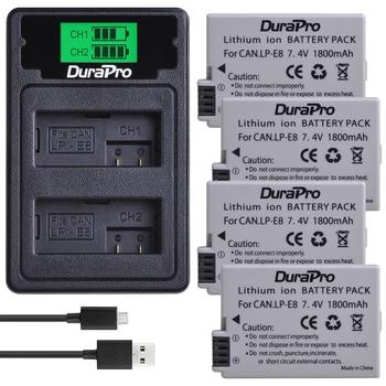 DuraPro 1800mAh LP-E8 LP E8 Li-ion Camera Battery + LCD Dual USB Charger with Type C Cable For Canon EOS 550D 600D 650D 700D
