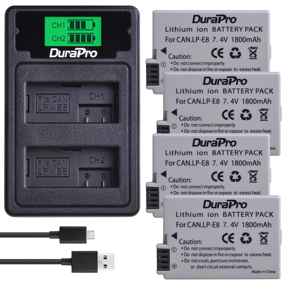 DuraPro 1800mAh LP-E8 LP E8 Li-ion Camera <font><b>Battery</b></font> + LCD Dual USB Charger with Type C Cable For <font><b>Canon</b></font> EOS 550D 600D <font><b>650D</b></font> 700D image