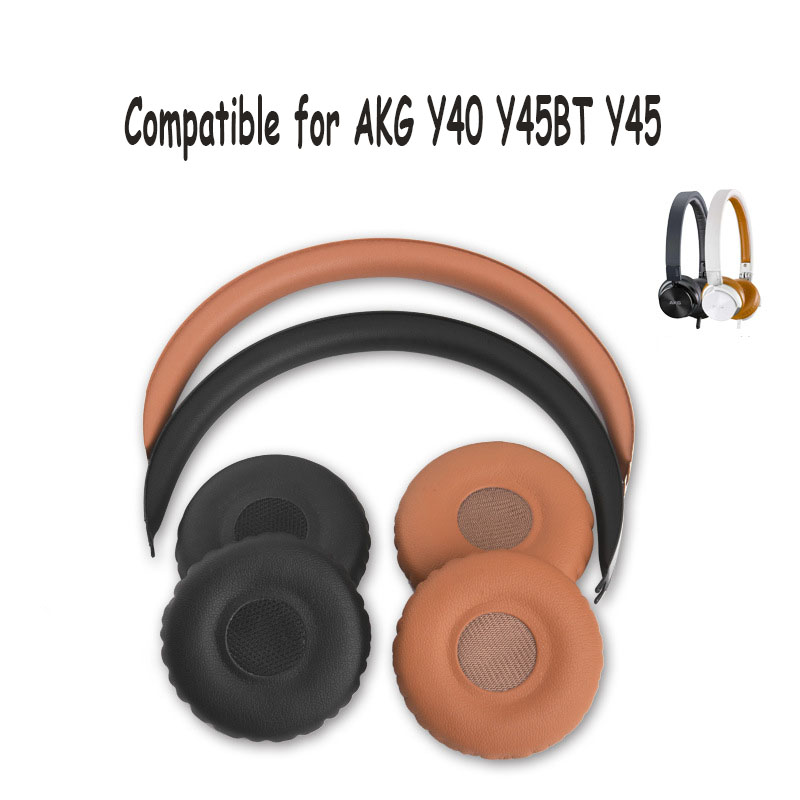 Ear Cushions Ear Pads Earpad Pillow Protein Leather Ear Cushion Cover for AKG Y40 Y45BT Y45 Headphones 52mm 1Pair image