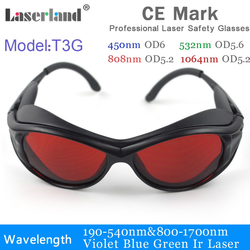 T3G 190-540nm 800-1100 532nm 1064nm ND:YAG УФ синий зеленый лазер ИК Защитный Безопасность очки CE OD4 + OD5 +