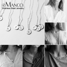 eManco 316L Stainless Steel Necklace women Personalized Initial Custom Name Nameplate Pendant Necklace Layered Choker Necklace personalized disc name pendant of 2 layered for women rose gold color initial necklace for present