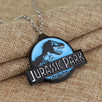 Science Fiction Movie Jurassics Parks Necklace for Women Man Alloy Enamel Pendant Choker Jewellery Necklaces for Teen Girls image