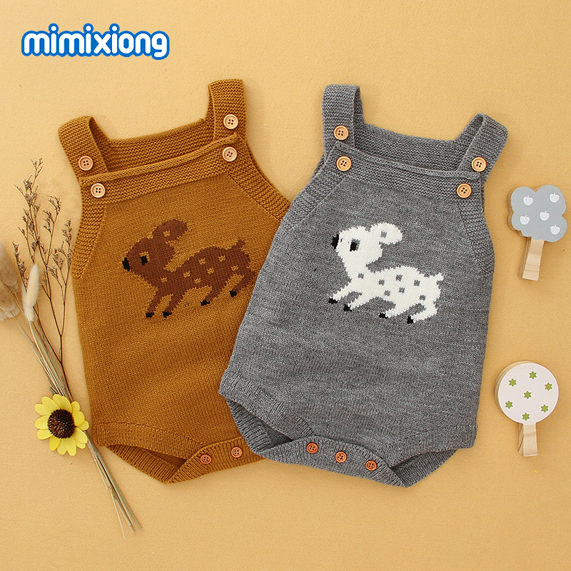 Cute Reindeer Baby Bodysuits For Girl Christmas Coveralls Autumn Sleeveless Newborn Boy Onesie Winter Toddler Kid Animal Clothes