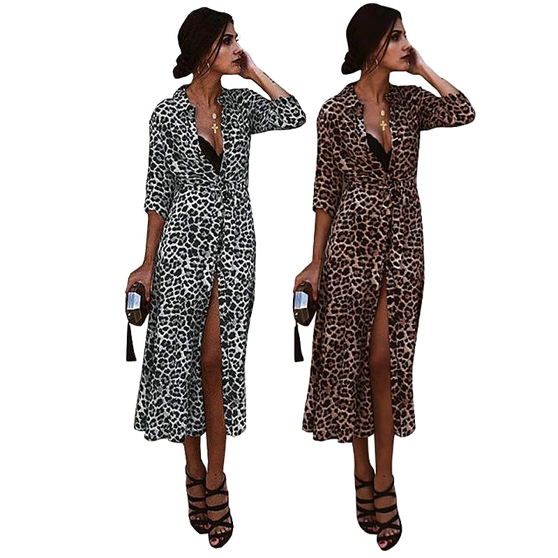 Women Dress Leopard Print Dresses Sexy Women Long Sleeve Midi Dress Womens Dresses