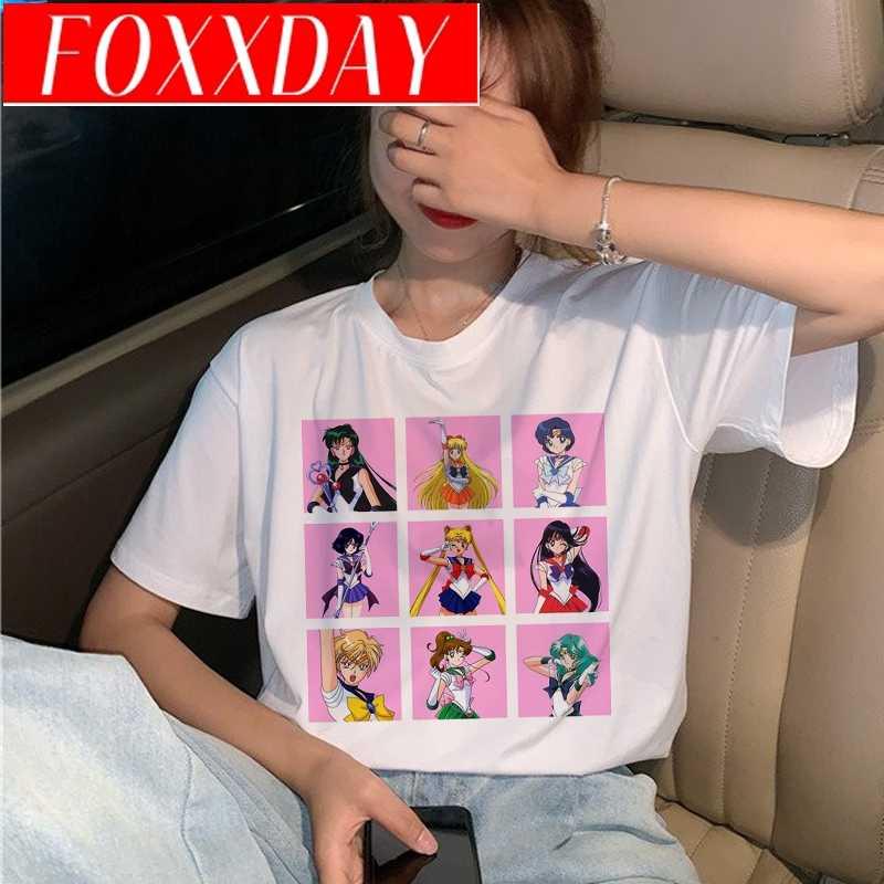 Kawaii סיילור מון T חולצת נשים Harajuku Ullzang אופנה קריקטורה חתול חולצה 90s אסתטי Tshirt קוריאני סגנון למעלה Tees נקבה