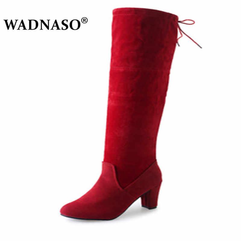 Femmes sur le genou bottes à lacets Sexy talons hauts chaussures femmes botte Faux daim femme Slim cuissardes bottes Botas 34-43