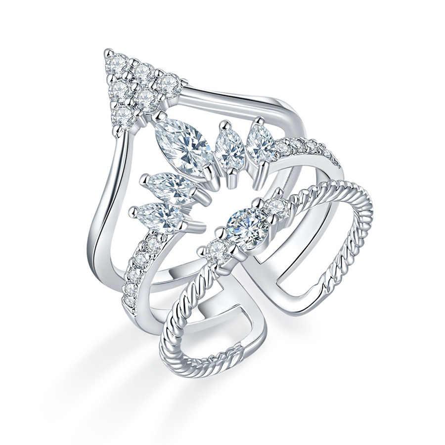 ผู้หญิงแฟชั่นมงกุฎแหวนเจ้าสาวงานแต่งงาน Zircon แหวนสามเหลี่ยม Spire แหวน Rhinestone ของขวัญวันวาเลนไทน์เครื่องประดับ