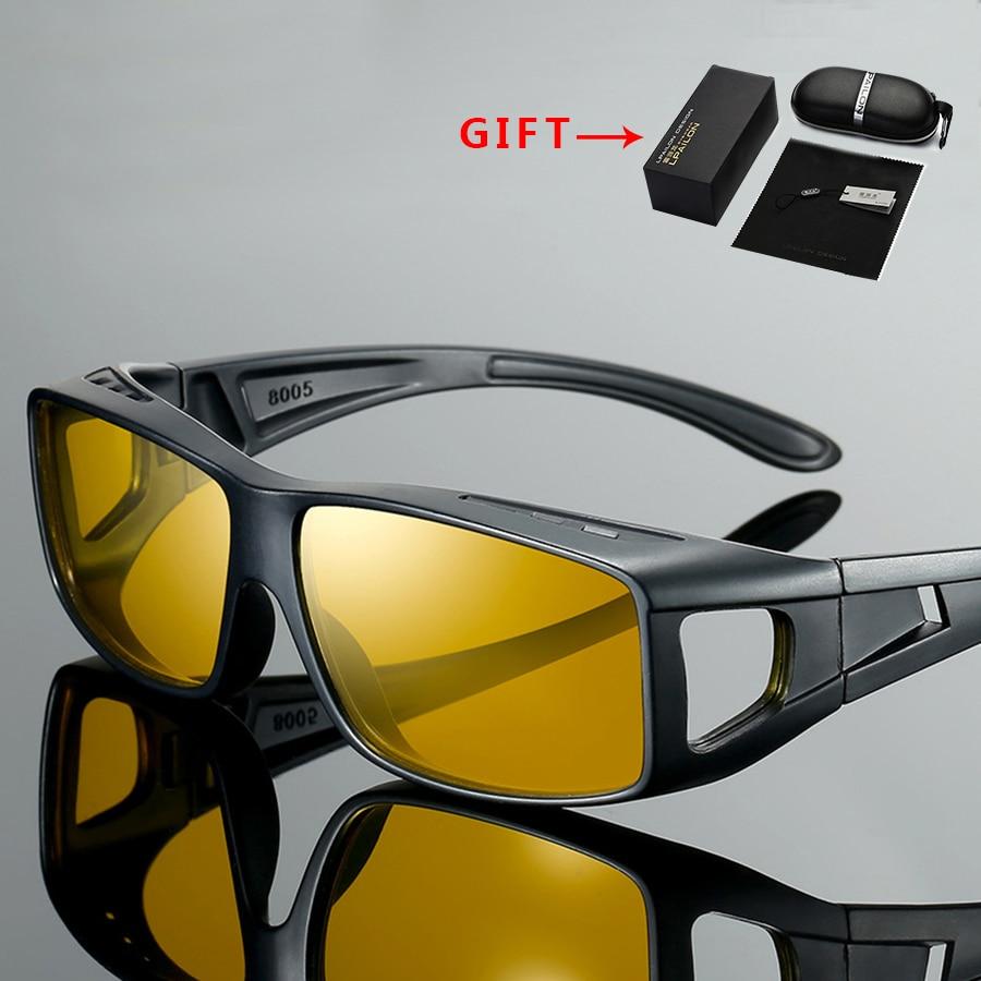Otomobiller ve Motosikletler'ten Sürücü Gözlük'de Gece görüş ayna miyopi ayna erkek sürücü gözlüğü sürüş gözlükleri Gafas De Sol Metal Oculos Escuros gece polarize gözlük title=