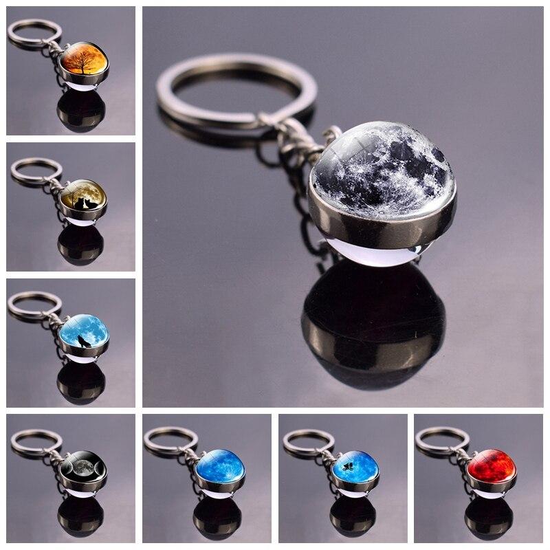 Full Moon Keychain Universe Planet Keyring Keyholder Glass Ball Pendant Space Key Chain Christmas Gifts