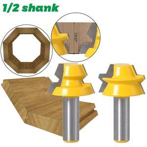 """Image 3 - 2 adet kilit gönye yönlendirici 22.5 derece tutkal doğrama yönlendirici Bit 1/2 """"12mm Shank 8mm shank ağaç İşleme kesici Tenon ahşap için kesici"""