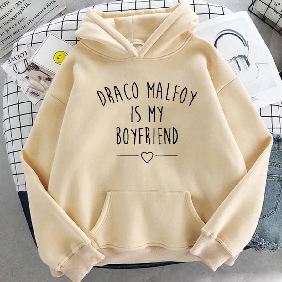 Draco Malfoy Is My Boyfriend Letter Print Sweatshirts Harajuku Hoodies Women 2021Spring Casual Fashion Streetwear Wram Pink Tops 15
