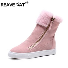 Shoes Heels Snow-Boots Toe-Side-Zipper Winter's Genuine-Leather Fur Ankle REAVE CAT Falt