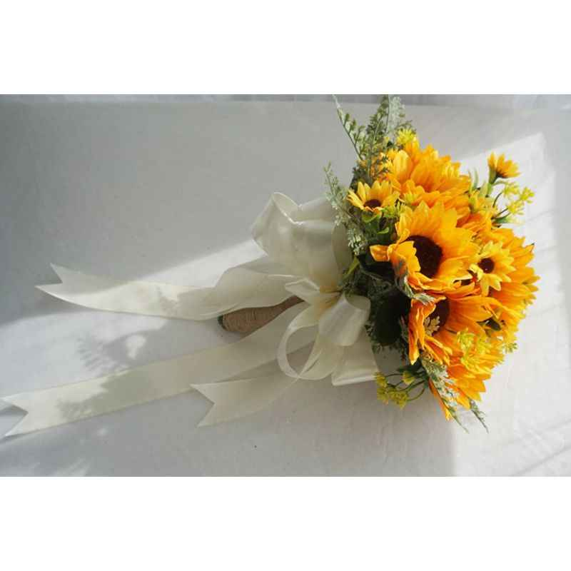 Artificial Bridal Wedding Bouquet Romantic Handmade Bright Sunflower Linen Rope Handle Satin Ribbon Church Party Home Decoration