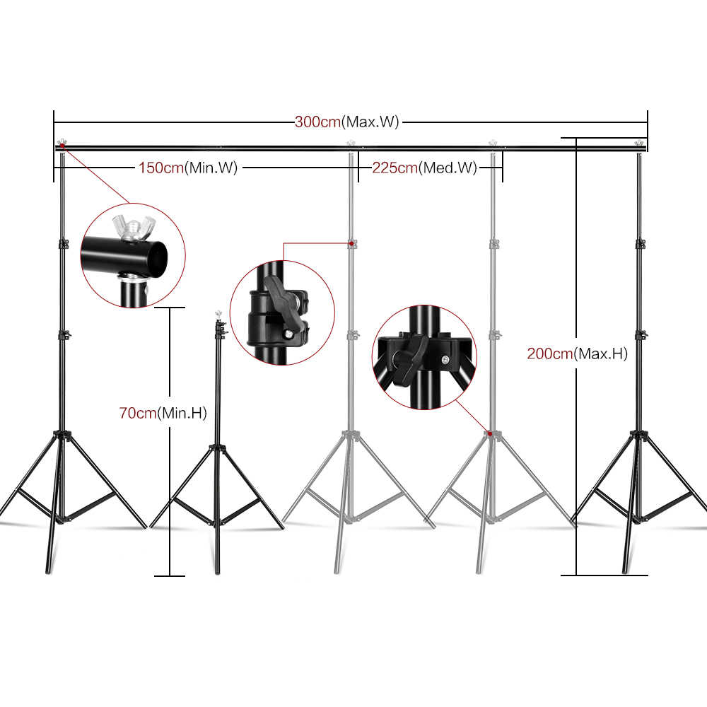 フォトスタジオ照明キット 3 個と 2 × 3 メートルの背景フレーム背景撮影ライトソフトボックス反映傘三脚スタンド