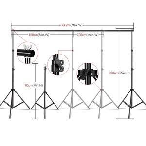 Image 3 - Photo studio kit de iluminação 2x3m sistema de suporte de fundo com 4pcs pano de fundo fotografia led luz softbox guarda chuva tripé suporte