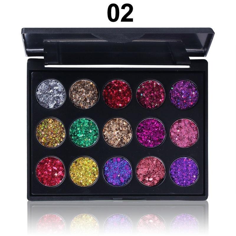 15 cores sequin sombra paleta brilho em