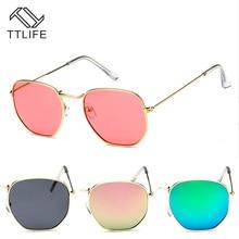 TTLIFE FZWT0156 Small Square Sunglasses Resin Lens Metal Frame Vintage Sun glasses Women Eyewear beach sun shade men fashion