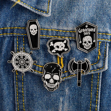 Pirate pins Skeleton Skull Coffin Ax Pirate flag Rudder Broooches Badges Lapel pins Black White Dark Gothic pins(China)