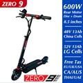 Оригинальный двухколесный электрический скутер ZERO 9, 52 в, 13 Ач, задний, 600 Вт