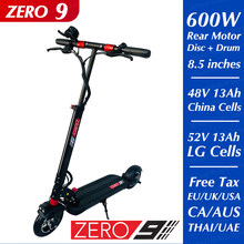 Zero 9 scooter elétrico único motor 52v 13ah lg traseiro 600w duas rodas kickscooter original