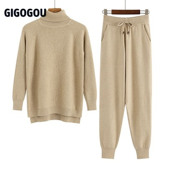 GIGOGOU 2 Pieces Set Women Knitted Tracksuit Turtleneck Sweater + Carrot Jogging Pants Pullover Sweater Set CHIC Knitted Outwear 1