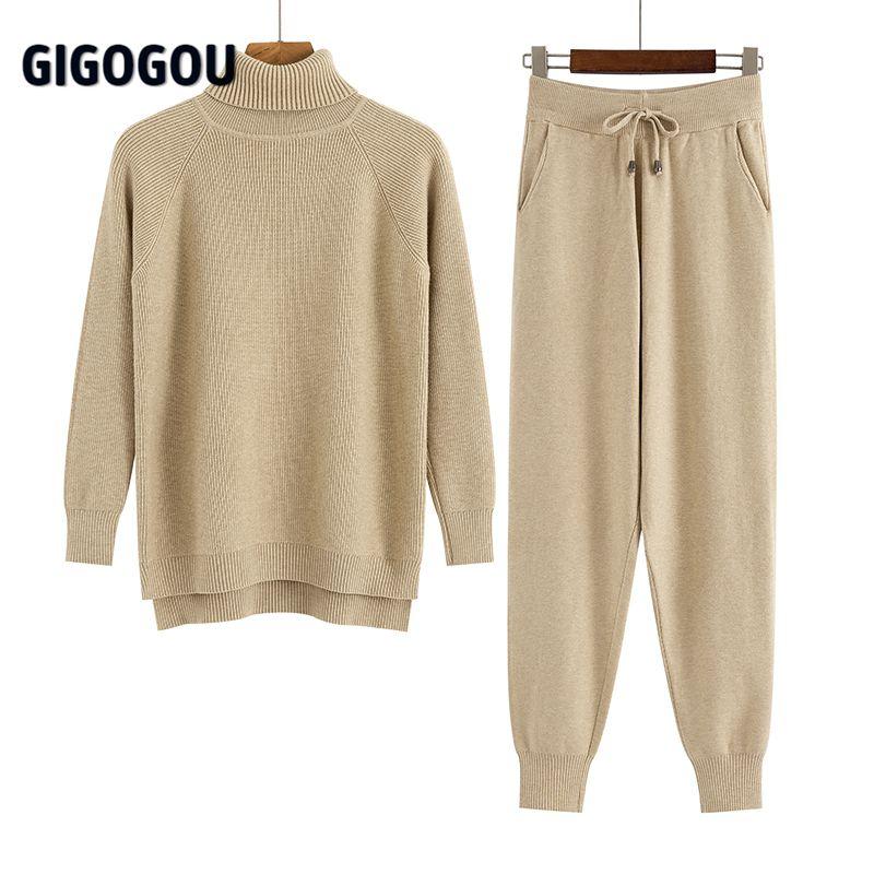 GIGOGOU 2 Stück Set Frauen Gestrickte Trainingsanzug Rollkragenpullover + Karotte Jogging Hosen Pullover Pullover Set CHIC Strick Outwear