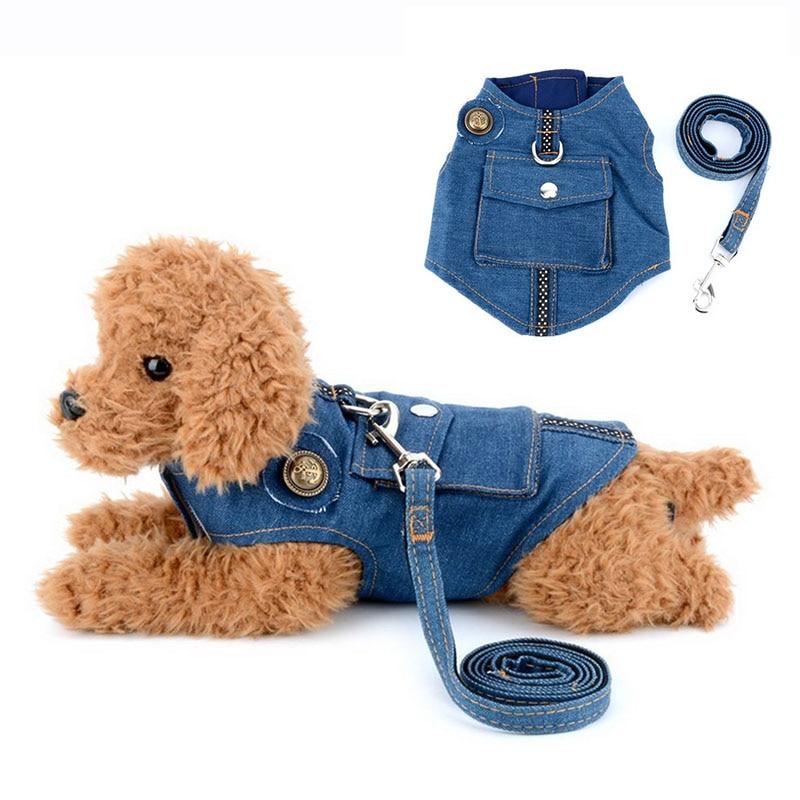 Dog Harness Vest Denim and Leash Jeans Pet Jacket for Cat Dogs Adjustable Puppy Leads Walking