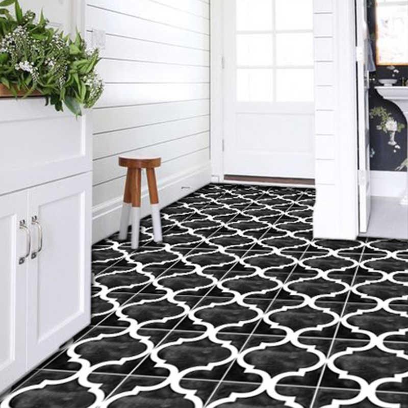 home decor morocco floor stickers ceramic tile waterproof black blue non slip vinyl peel and stick bathroom kitchen 10pcs
