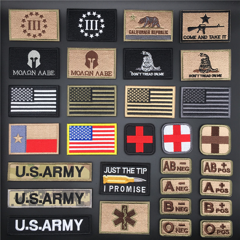 3D тактические бейджи вышитые армейские военные наклейки на одежде американский флаг патч для рюкзак для одежды велкоровые нашивки