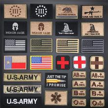 Insignias tácticas 3D, pegatinas militares bordadas del ejército en la ropa, parche para ropa, mochila, Parche de Velcro