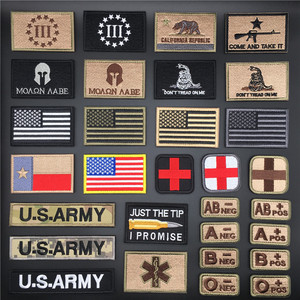 3D Tactical Morale Badges Embroidered Army Military Stickers On Clothes American Flag Patch for Clothing Backpack Velcro Patch