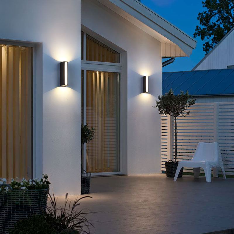 Modern Led Up Down Light Outdoor Wall Light Ip65 Aluminum Wall Mounted Porch Lights 3 Sides Direction Lighting Wall Lamps 4w 220 Leather Bag